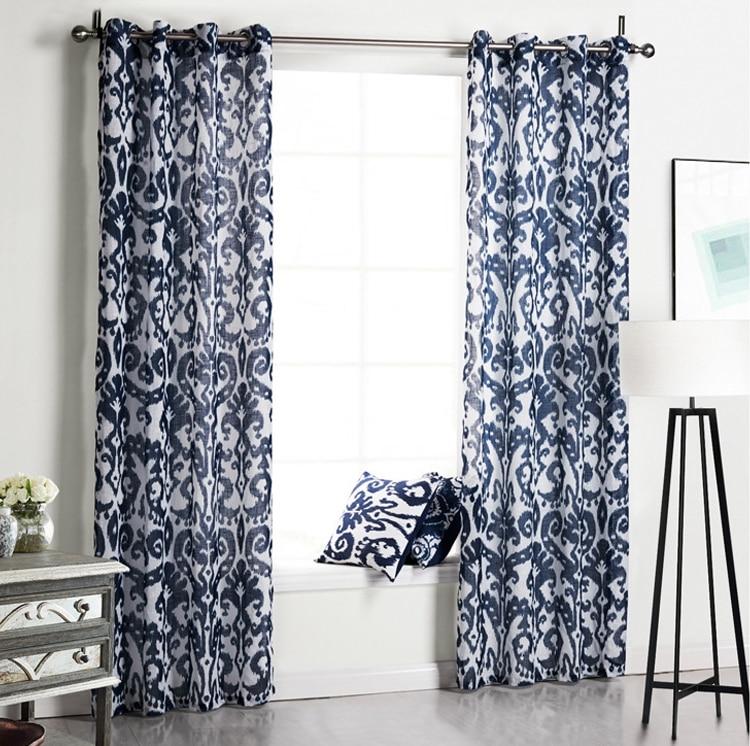 Modern Style Pattern Navy Blue Translucidus Shade Cloth