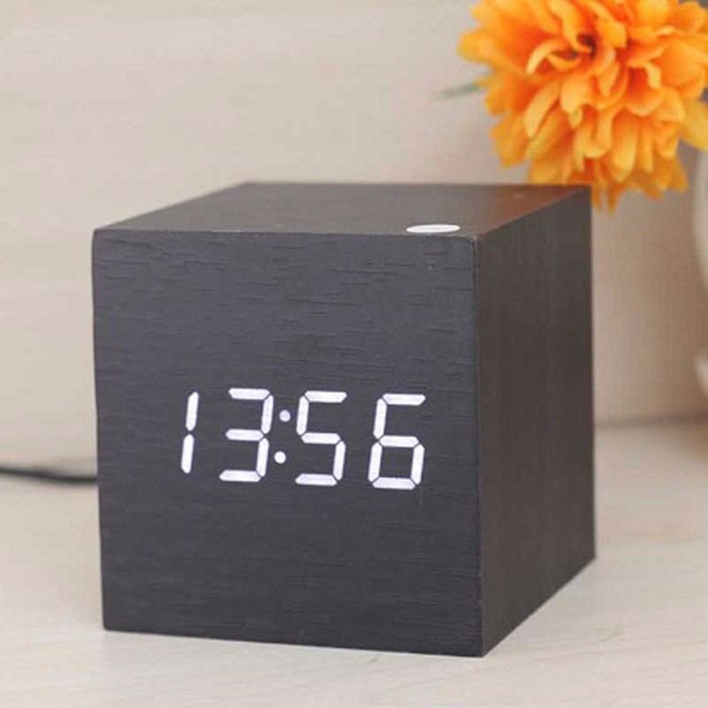 USB/AAA Powered Cube LED Digital Alarm Clocks Square Modern Wood Clock Thermometer Temp Display Calendars Desk Table Clock S30