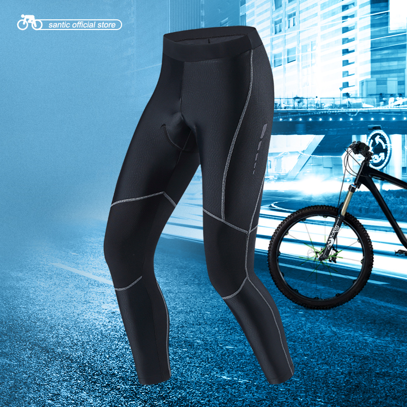 Santic мужские Велоспорт длинные брюки про посадку ткани coolmax 4D площадку ударопрочный Весна Лето Осень Анти-пиллинг Велоспорт одежда M7C04090