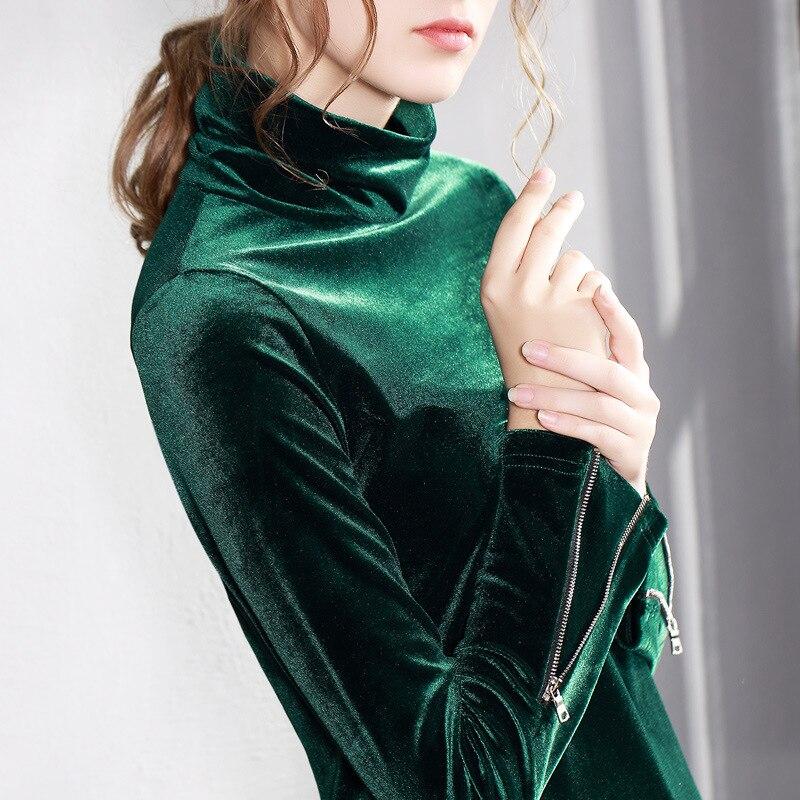 a18e16ea7cf Velour T Shirt Women 2018 Autumn Winter Hot Fashion Plus Size Turtleneck  Velvet Shirt Female Long Sleeve Slim Tops T shirts-in T-Shirts from Women s  ...