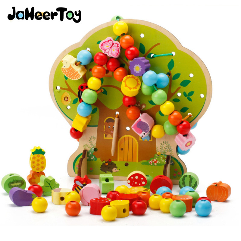 JaheerToy Baby Educational Toys for Children Fruit tree Beaded Creature Blocks Wood Gifts Montessori Funny Toy 120pcs set rainbow colored educational montessori toy birthday gift for children block brinquedo wood domino blocks funny toys