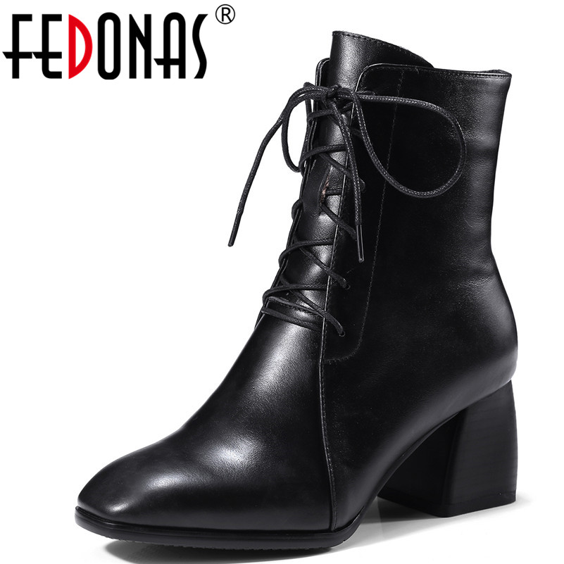 FEDONAS Women Genuine Leather Square Toe Autumn Winter Warm Ankle Boots High Heels Corss-tied Martin Shoes Woman Zipper Boots 2018 new vintage mid calf women boots square thick high heels pointed toe martin boots genuine leather winter shoes for women