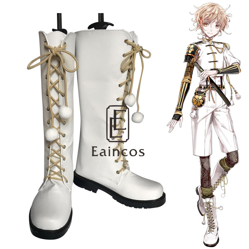 Touken Ranbu Online Monoyoshi Sadamune Cosplay Halloween Party Shoes White Boots Custom Made