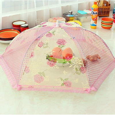Food Covers Umbrella Style Anti Fly Mosquito Kitchen diameter cooking Tools meal cover Hexagon gauze table food cover 70*30CM