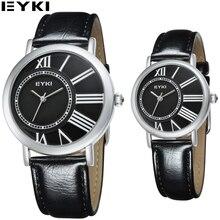 EYKI Los Hombres de Negocios Clásicos Relojes Hardlex Caja Oficina Parejas Relogios masculino Correa de Cuero Genuino Reloj Caja de Regalo Paquete