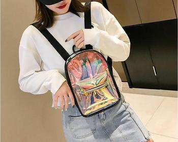 DHL 10 pieces Laser Backpack Schoolbag Hologram  School Bag For Teenage Girls Holographic Shoulder Bag mochila feminina