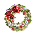 2 Inch Gold Plated Multicolor Leaf Flower and Bow Wreath Brooch Christmas Gift for friends