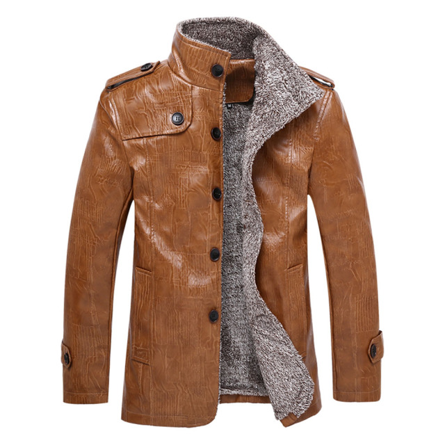 2018 New Winter Men's Leather Jackets 5XL 6XL Stand Collar Long Coats Men Windbreaker Fleece PU Leather Male Jacket JK18027