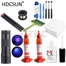 LOCA tp-2500 УФ-клей 5 мл+ УФ-отверждаемый светильник+ Очиститель клея UV+ режущая проволока+ одежда+ нож для очистки+ инструмент для ремонта iphone lcd