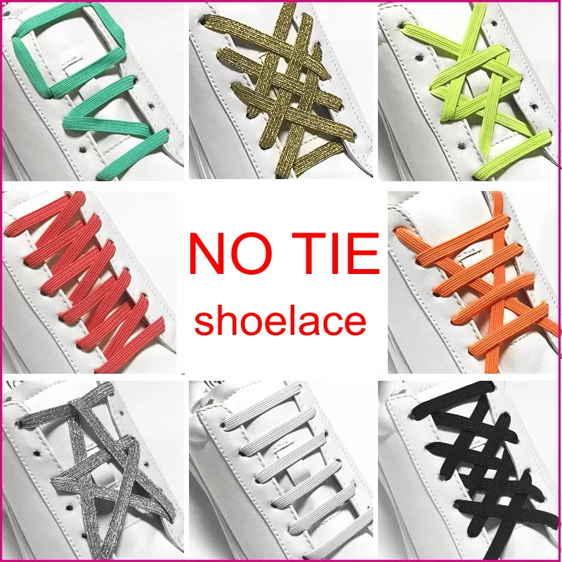 1Pair Elastic Rubber ShoeLaces No Tie ShoeLace Sneaker Shoes Laces Shoe Lacets Shoestrings Running/Jogging/Triathlone