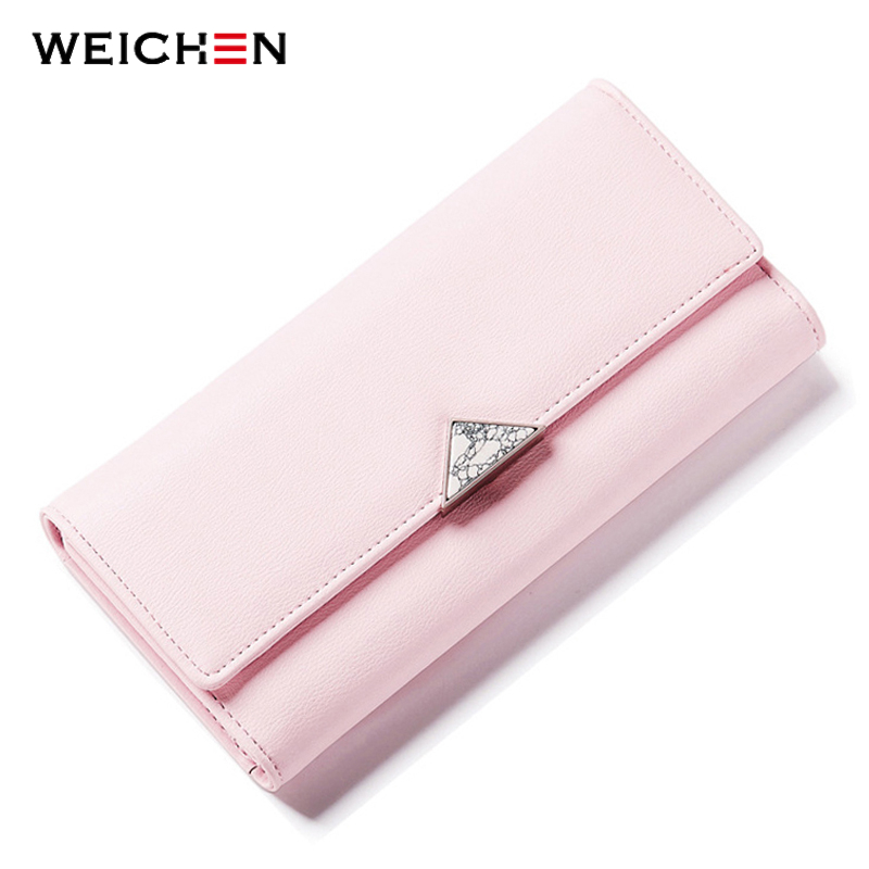 WEICHEN Female Wallets Long-Purse Geometric Nature-Stone Designer Ladies Many-Departments