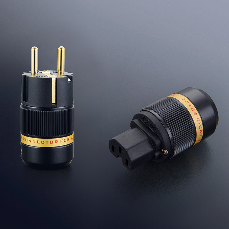 Viborg X Hifi audio Pure copper 24K Gold plated EU power cable Extension connector plugs adapter 1 pair free shipping viborg x 1pcs xlo limited edition 24k gold plated eu ac power cord hifi audio power cable extension adapter