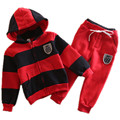 kids tracksuits 2017 new baby boys girls clothing sets patchwork and striped kids outfits hooded sweatershirt +drawstring pants