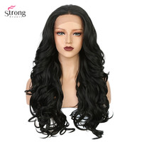 StrongBeauty 28 Synthetic Lace Front Wigs for women Long Curly Hair Black Wig African American