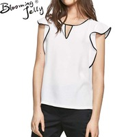 Blooming Jelly Fashion Women Summer Blouses Ruffled Short Sleeve Shirt O Neck Chiffon Blouse White Black
