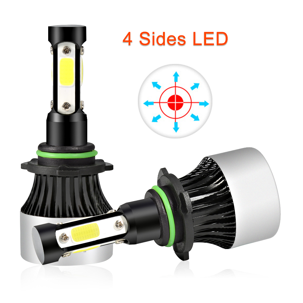 H4 LED Bulb H7 Headlight Conversion kits Car Lights HB4 HB3 9005 9006 H11 Lamp 4 Side COB Chip 12000Lm 12V 55W image