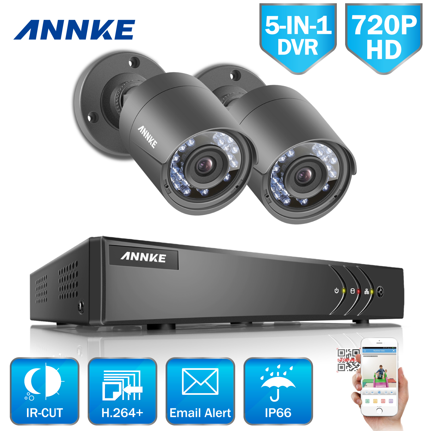 ANNKE 4CH HD 720P TVI 1080N DVR 2pcs 1500TVL Outdoor IR Day Night Security Camera Surveillance System 1TB HDD DK