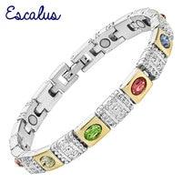 Escalus Цвет ful кошачий глаз Камни Магнитная Для женщин Серебряный браслет Цвет био подарок ювелирные изделия ручной Браслеты браслет шарма