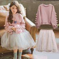2018 Children's Clothing Set Spring Girls Fashion Suit Female Kids Lovely Pink Tops T shirts + Skirts 2 Pcs Costume 10 12 Year