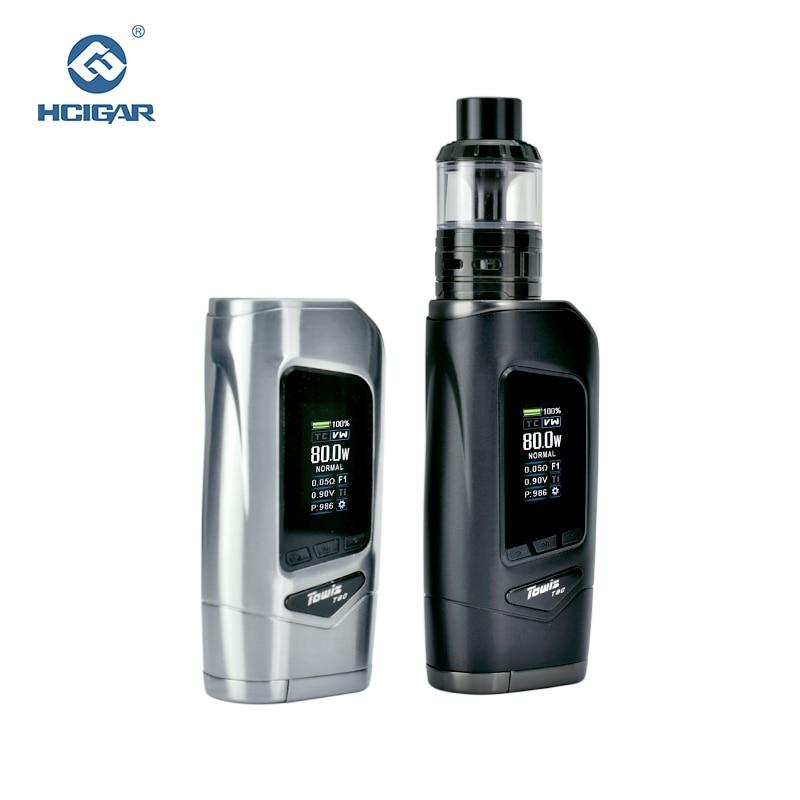 Original HCIGAR Towis T80 vape Kit Output 5-80w WATT and TEMP mode Vaporizer Electronic cigarettes Mod with Aeolus RTA atomizer