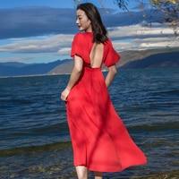 Vraie Image 2018 Été Nouveau Slim Femmes Robe Tempérament À Manches Courtes V-cou Rouge Noir Bohême Femal Long Beach Robes