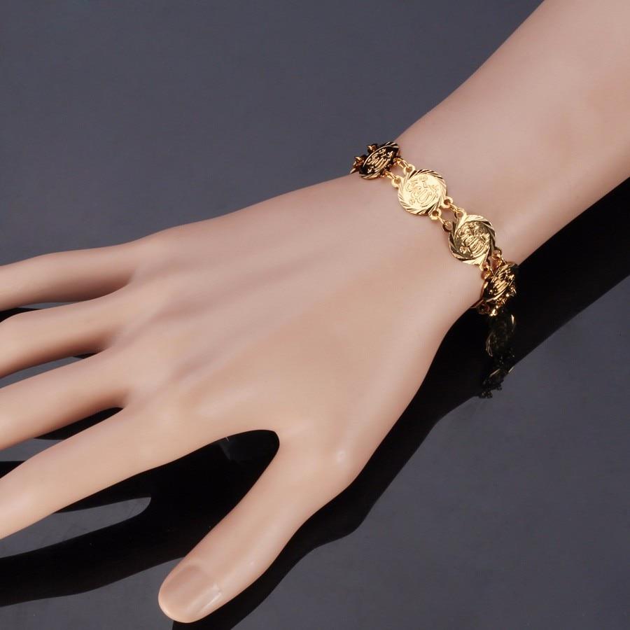 Kpop Muslim Allah Bracelet Religious Islamic Men Jewelry Gold / Silver Color Charms Bracelet Gift for Boyfriend H727