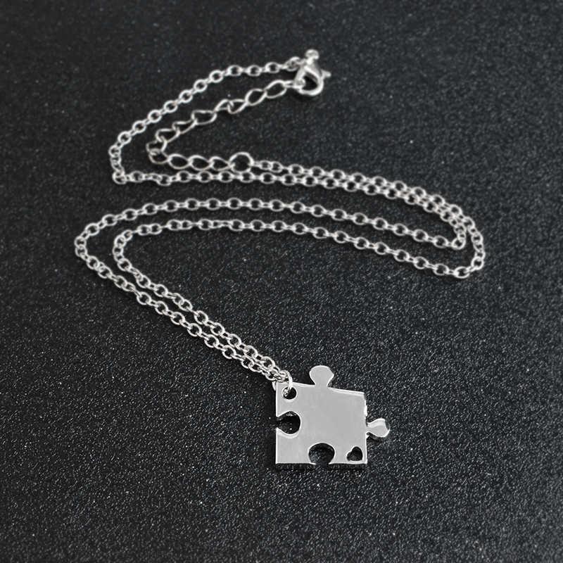 4 sztuk/zestaw łączenie Puzzle wisiorek naszyjnik srebrny rodziny BFF pokonać przyjaciół naszyjniki dla kobiety mężczyźni miłość przyjaźń biżuteria