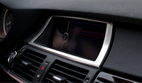 For BMW X6 E71 2008 2014 Interior Center Console GPS Navigation Frame Cover Trim 1 Piece Steel Matte Car Styling Accessories