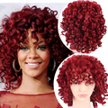 Red Short Curly Wig For Black Women Afro America Pruiken Synthetic Women Pelucas Pelo Natural Fake Women Wig Hair Peruk Burgundy