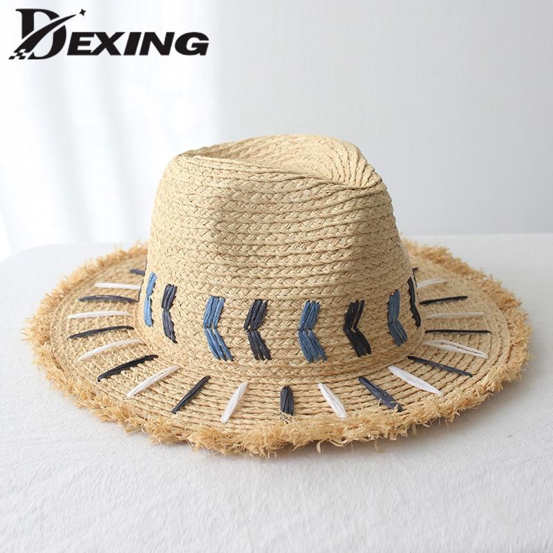 100% Reall naturel raphia chapeau pour les femmes chapeau de protection solaire de mode chapeau de plage paille d'été fedora