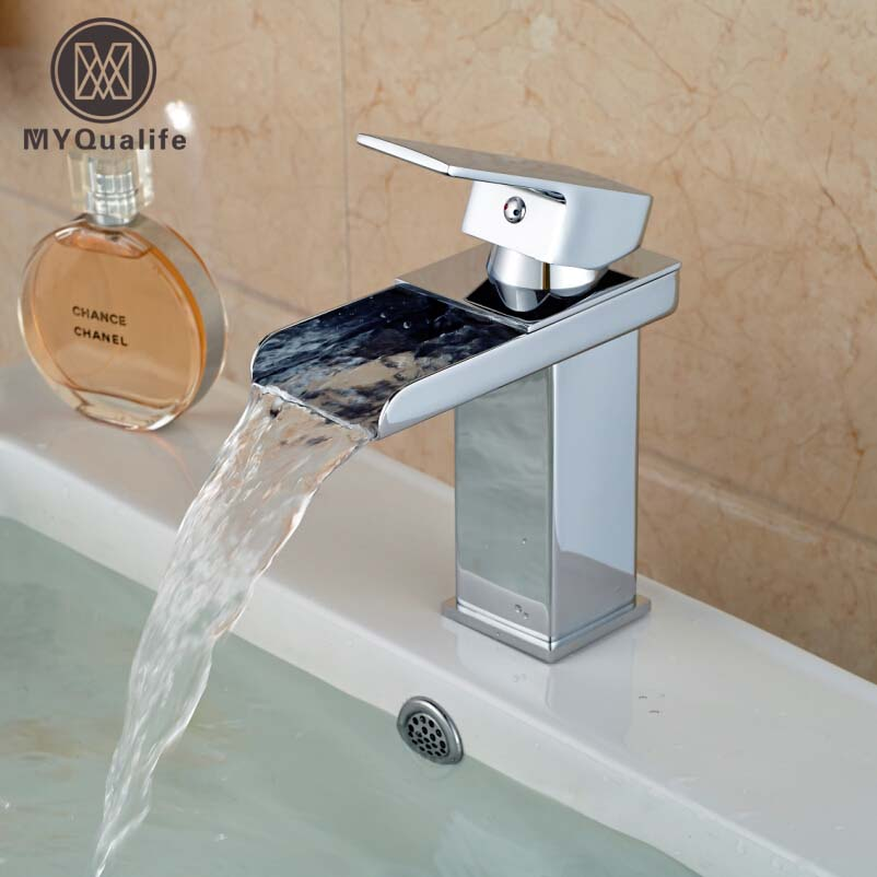 Free Shipping Waterfall Spout Single Handle Bathroom Sink Vessel Faucet Basin Mixer Tap Chrome Finish contemporary waterfall spout basin faucet single handle bathroom vessel mixer tap chrome finished