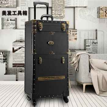 Women large capacity Trolley Cosmetic case Rolling Luggage bag,Stylist Retro Beauty Tattoo Trolley Suitcase,Nails Makeup Toolbox