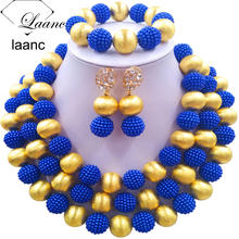 Laanc Nigerian Beads African Jewelry Set Royal Blue Wedding Jewelry Simulated Pearl Necklace for Women NAL464(China)