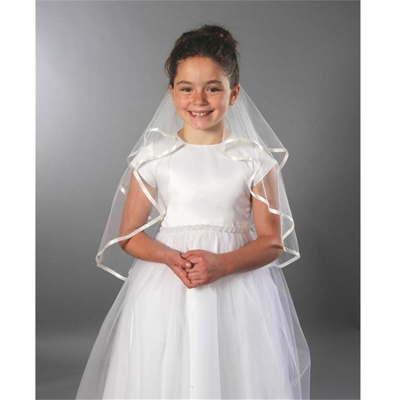 Kids White Ivory Wedding Flower Girls First Communion Veils Children Satin Edge 2 Layers Veil Voile Mariage Fille Velos De Novia