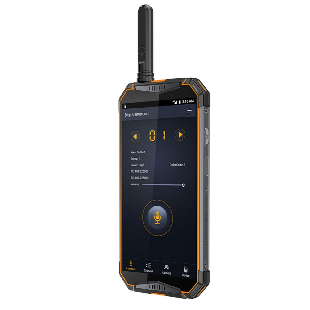 Ulefone3T 10300mAh IP68 Waterproof Walkie Talkie Smartphone Android 8.1 IP Internet 3G 4G WCDMA Radio DMR 400-470MHZ UHF Radio