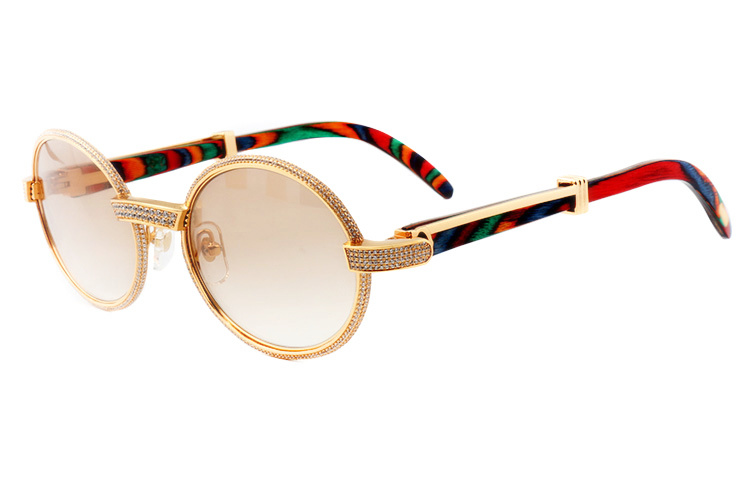 Cartier 55-22 Full Diamond Peacock Wood Gold Frame Brown Round Lens (1)