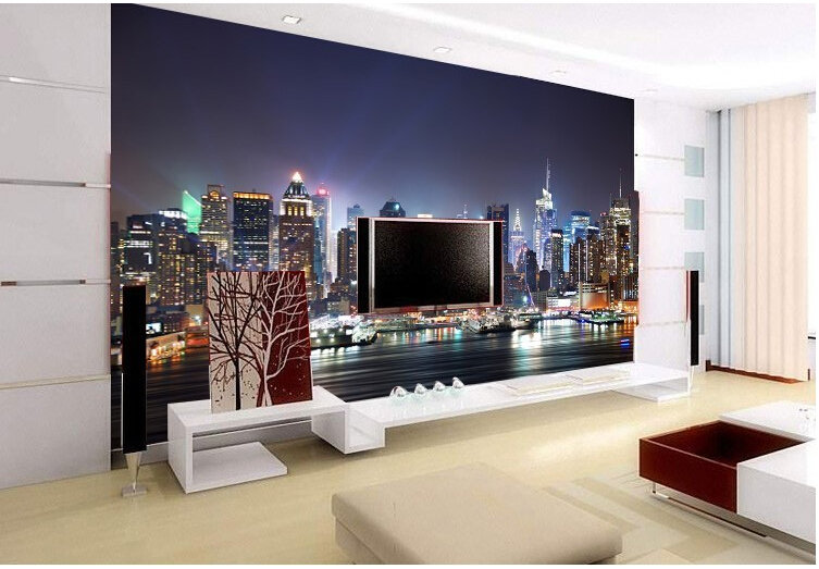 Manhattan 3d papel de paede New York City large mural wallpaper night background wall paper scenery TV sofa bed paper parede
