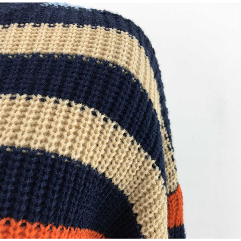 NewAsia Rainbow rayado suéter mujer Otoño Invierno ropa 2019 tejido Jersey manga larga cuello redondo superior Jersey de punto Streetwear