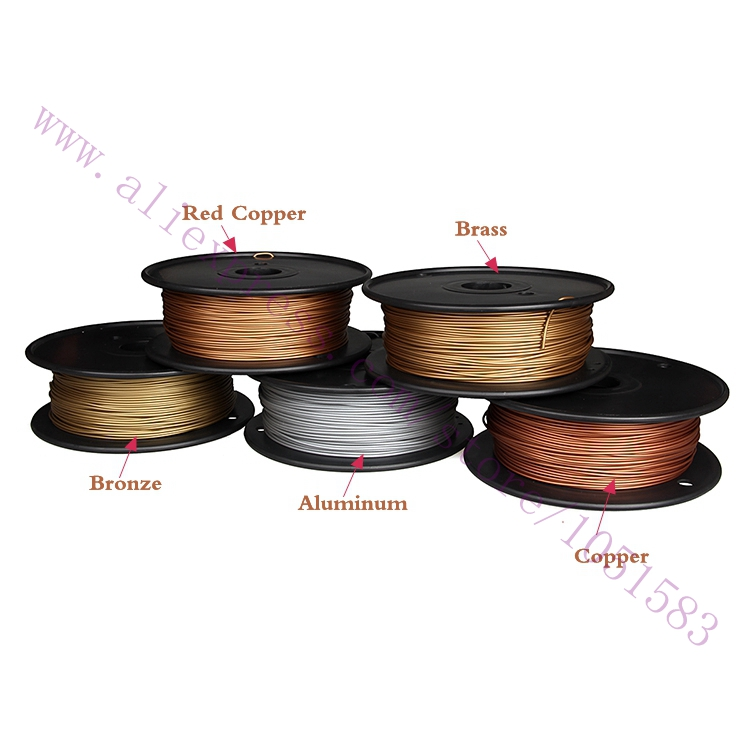 Newest, 3D Printer Metallic Filament,40% Of Metal Content Filaments -Red Copper /Brass /Bronze /Copper /Aluminum, 1.75/3mm