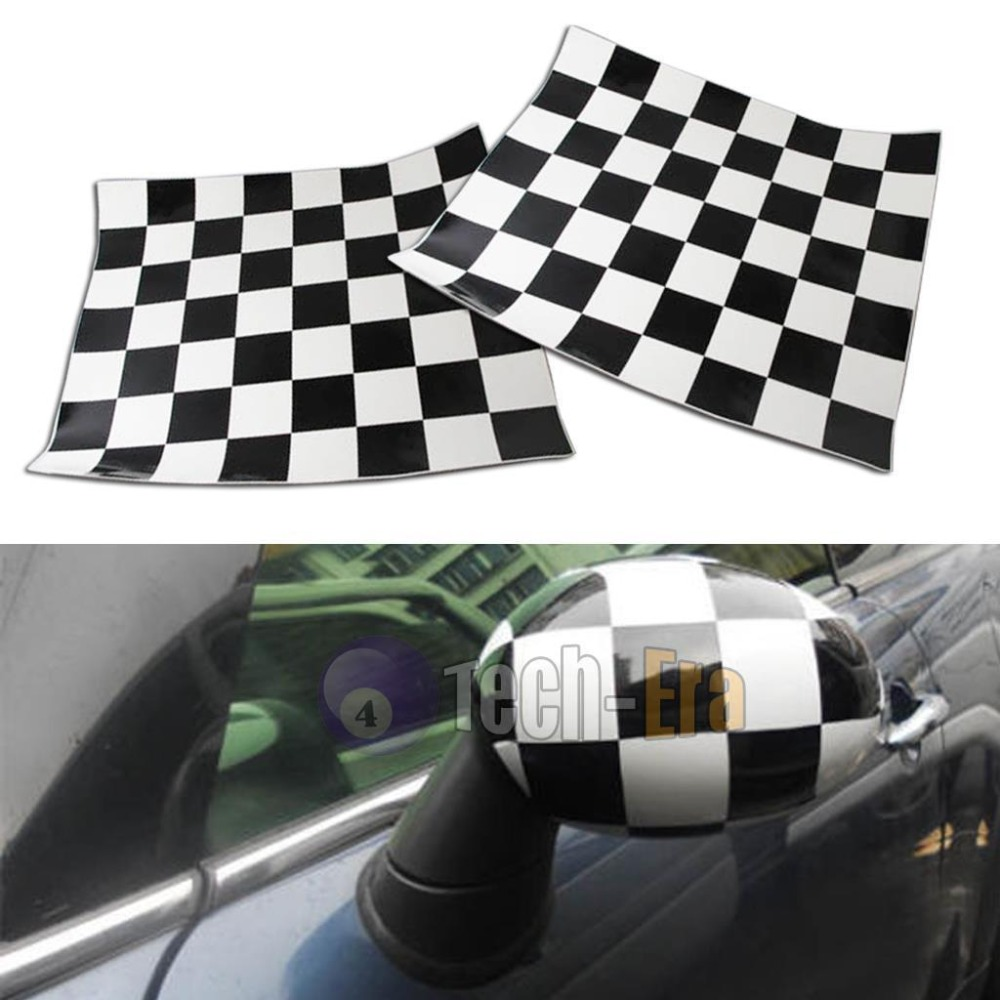 Car mirror sticker design - 2pcs Checkered Pattern Vinyl Stickers Decals For Mini Cooper Side Mirrors L R China