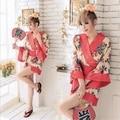 Japonés de Moda Novia de dama de Honor de La Boda Corta Bata de Seda del Faux Túnica Floral Kimono Robe Albornoz Corta Noche Albornoz para Las Mujeres
