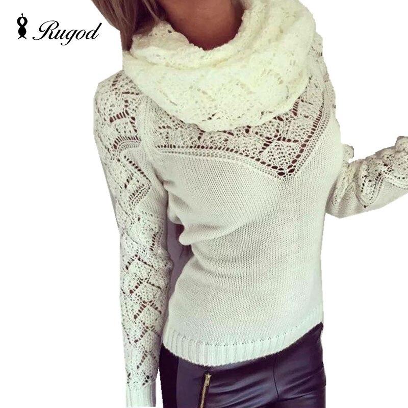 Τραβήξτε το πουλόβερ γυναικών femme 2019 φθινόπωρο άνοιξη gilet femme manche longue poncho Turtleneck ζεστό πουλόβερ και κασκόλ 2 κομμάτια που