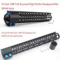 TriRock Black Anodized 15'' inch LR 308 / 7.62 Handguard Rail Free Floating Mount System High Profile Keymod / M lok Style