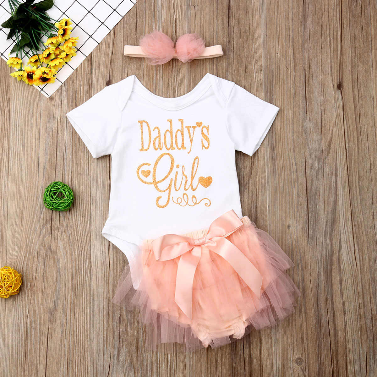 133e1c055cf59 3Pcs Baby Outfit Clothes Girls Letter Romper Tops Mesh Shorts Shinny  Jumpsuit Newborn Fathers Day Clothes Set