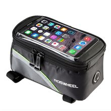 ROSWHEEL Cycling Bike Bags Touch Screen Waterproof Bicycle Bags MTB Frame Front Tube Storage Mountain Bike Bag For Cell Phone(China)