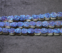 10mm and 12mm Blue Titanium Druzy Stone Coin Beads Pendants Drusy Necklace Quartz Flat Round Beads Jewelry Making