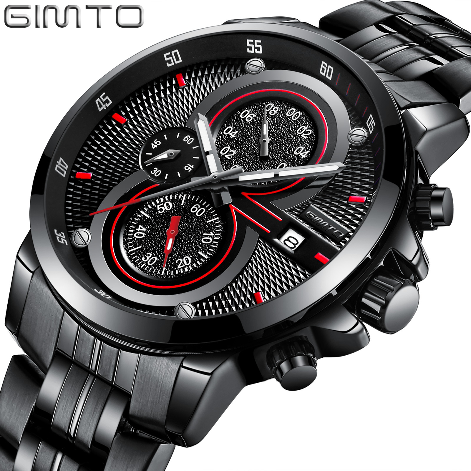 GIMTO Cool Sport Watch Men Stainless Steel Band Luxury Black Military Quartz Watches Male Waterproof Casual Relogio Masculino stylish black sport men watch luxury brand gimto fashion stainless steel casual cool male s wristwatch 30 meter waterproof