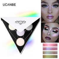 UCANBE Brand Triangle Glitter Eyeshadow Palette Holographic Shade Eye Lip Face Makeup Shimmer Shine Powder Nude Eye Shadow