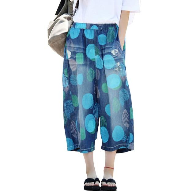 2d012a1a6 2018 Mulheres Verão Lavado Branqueada Calças Largas Moda Dot Impresso Calça  Jeans Perna Larga Calças Jeans
