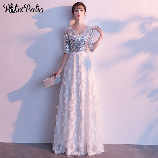 Long White Feather Dress